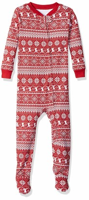 Amazon Essentials Baby and Toddler Zip-front Footed Sleeper Red Snowflake 2T