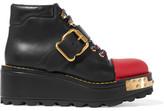 Prada Embellished Leather Boots - Black