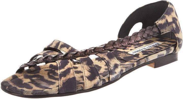 Manolo Blahnik Leopard-Print Suede Sandal