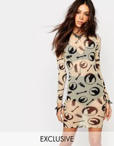 Noisy May X Bloody Noisy Sheer Bodycon Dress With All Over Wolf Print
