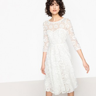 La Redoute Collections Floral Embroidered Lace Midi Wedding Dress
