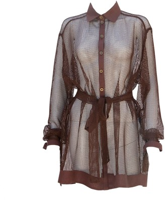 Relax Baby Be Cool Long Sleeve Oversized Brown Cotton Mesh Button Up Shirt