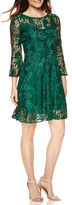 Studio 1 Long-Bell-Sleeve Lace Fit-and-Flare Dress