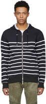 Balmain Black and White Stripe Zip Hoodie