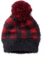 Mudd Women's Buffalo Check Pom-Pom Hat