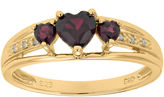 JCPenney FINE JEWELRY Genuine Garnet and Diamond-Accent 3-Stone Heart Ring