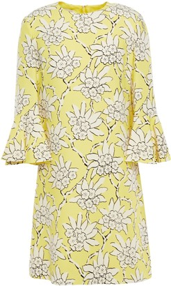 Valentino Fluted Floral-print Wool And Silk-blend Mini Dress