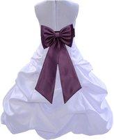 ekidsbridal Wedding Pageant Bridesmaids Party Formal Satin White Flower Girl Dress 808t