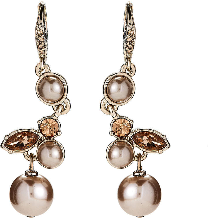 Givenchy Gold-Tone & Blush Cluster Drop Earrings
