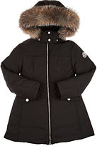 Moncler Obax Fur-Trimmed Coat-BLACK