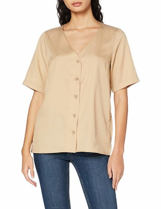 Pieces Women's Pcmarylee Ss V-Neck Top Bc Blouse