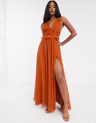Asos Design DESIGN pleat bodice maxi dress with raw edge detail