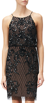 Adrianna Papell Petite Short Beaded Dress, Black Nude