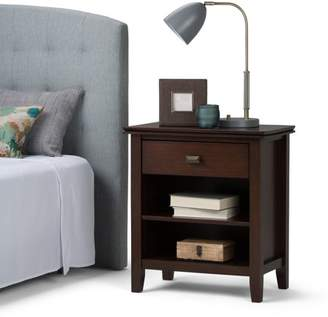 Russet Brooklyn + Max Holden Solid Wood 24 inch Wide Contemporary Bedside Nightstand Table in Brown