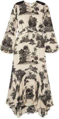 Johanna Ortiz Notalgia Del Pasado Embellished Printed Silk Crepe De Chine Midi Dress
