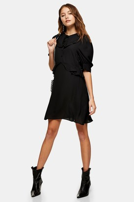 Topshop Womens Tall Black Collar Button Front Mini Dress - Black