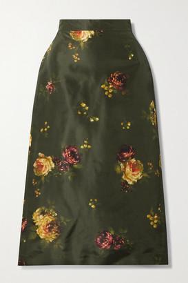 Brock Collection Floral-print Silk-taffeta Midi Skirt - Army green