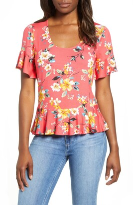 Loveappella Scoop Neck Peplum Top