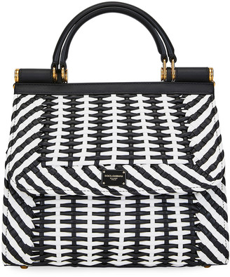 Dolce & Gabbana Intreccio Napa Checked Top-Handle Bag