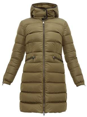 Moncler Betulong A Line Quilted Down Coat - Womens - Dark Green