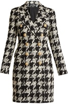 Balmain Double-breasted hound's-tooth wool-blend coat