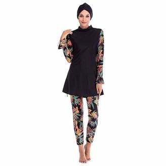 HAOFAN Islamic Swimming Hijab Swimwear Modest Swimwear Full Length Active Burkini Muslim Swimsuit Black