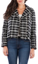 KUT from the Kloth Eveline Textured Check Faux Leather Moto Jacket