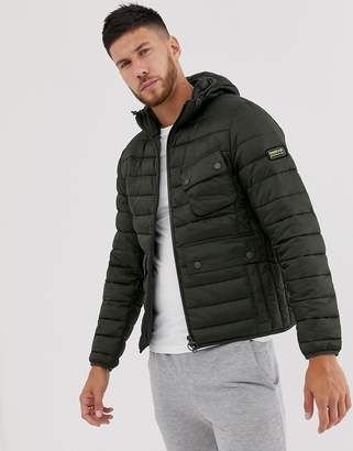 Barbour International Ouston hooded quilt jacket in khaki-Green