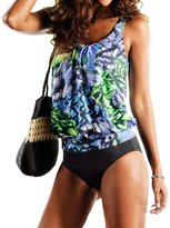 EARNUGE Women's Tankini 2pcs Plus Size Casual Swimsuit with Shorts
