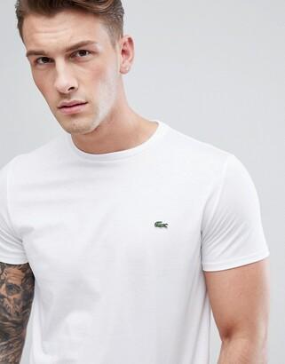 Lacoste logo pima cotton t-shirt in white