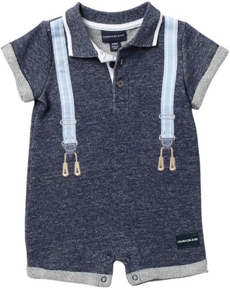 Calvin Klein Suspender French Terry Romper (Baby Boys 0-9M)