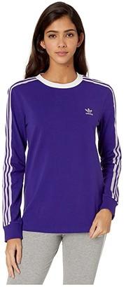 adidas 3-Stripes Long Sleeve Tee (Collegiate Purple) Women's Long Sleeve Pullover