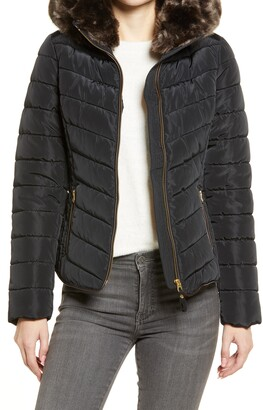 Joules Gosway Puffer Jacket with Removable Faux Fur Trim