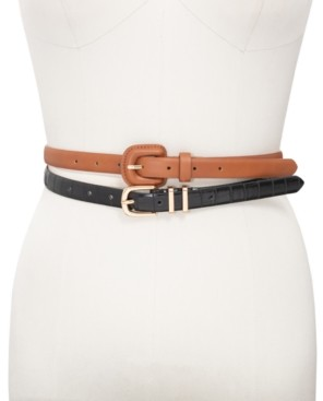 INC International Concepts Inc 2-for-1 Croco-Embossed Skinny Belts, Created for Macy's