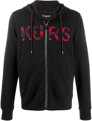 Michael Kors Logo Embroidered Zipped Hoodie