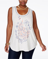 Lucky Brand Trendy Plus Size Peacock Graphic Tank Top