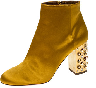 Aquazzura Yellow Satin Party Embellished Heel Ankle Booties Size 36