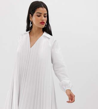 Asos Tall DESIGN Tall pleated long sleeve cotton swing mini dress-White
