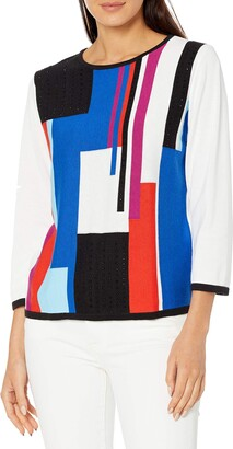 Alfred Dunner Women's Petite Colorblock Sweater