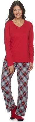 Croft & Barrow Women's Petite 3 Piece Short Sleeve Pajama Set with Sock