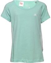 adidas Girls Essentials Mid 3 Stripe T-Shirt Ice Green/White