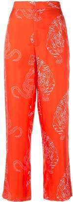 Shanghai Tang Pyjama Pants with Tiger & Snake Print