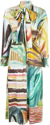 Rosie Assoulin abstract print pussybow dress