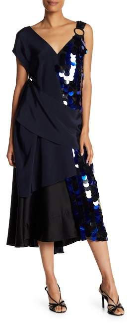 Diane von Furstenberg Asymmetrical Sequin Solid Dress