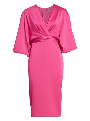 Theia Dolman-Sleeve Wrap Dress