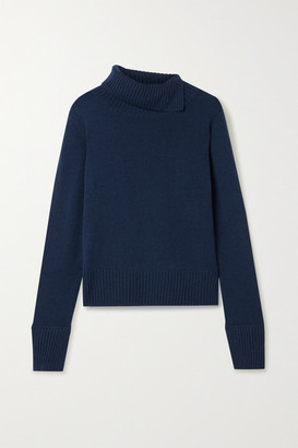 Jason Wu Pleated Satin-trimmed Cashmere Turtleneck Sweater - Navy
