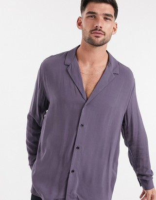 ASOS DESIGN relaxed fit viscose shirt with low revere collar in purple