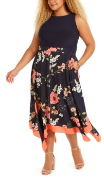 Vince Camuto Plus Size Floral-Print Asymmetrical-Hem Dress