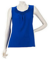 Denim & Co. As Is Sleeveless Knit Tank with Ribbon Neckline Detail