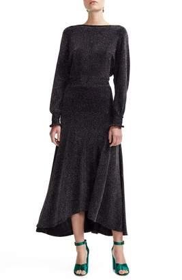 Maje Rio Metallic Long Sleeve Midi Dress